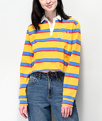 Odd Future Striped Crop Long Sleeve Polo Shirt