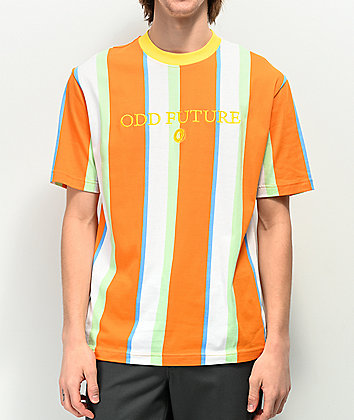 Odd Future Vertical Stripe White & Orange T-Shirt