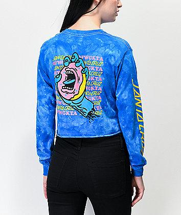 Odd Future x Santa Cruz Donut Hand Blue Tie Dye Crop Long Sleeve T-Shirt
