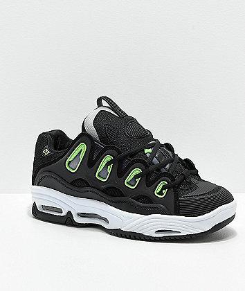 Osiris D3 2001 Black, White & Green Skate Shoes