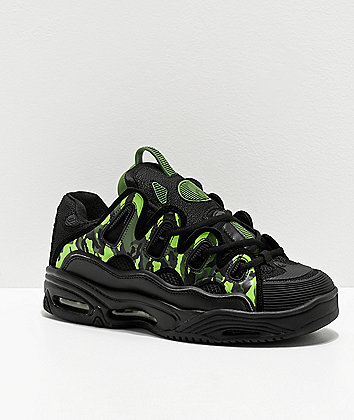 Osiris D3 2001 Black & Green Camo Skate Shoes