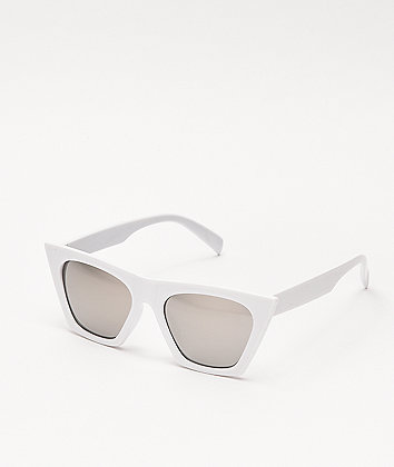 Oversized White and Silver Mirrored Sunglasses