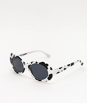 Petals and Peacocks Nevermind Cow Print Sunglasses