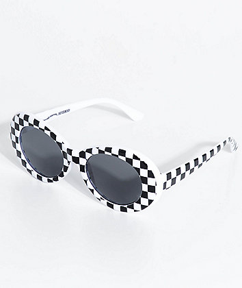 Petals and Peacocks Nevermind White Checkerboard Sunglasses