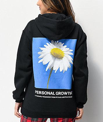 Petals and Peacocks Personal Growth Black Hoodie