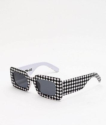 Petals and Peacocks Rhubic Warped Checkered Sunglasses