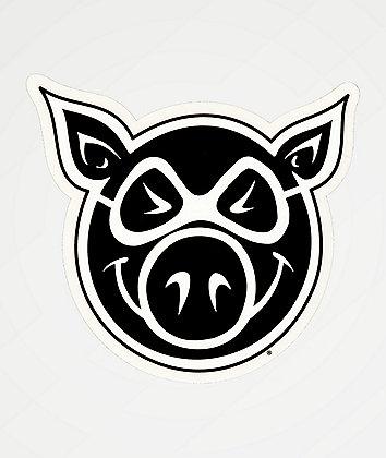 Pig Wheels Pig Head Sticker