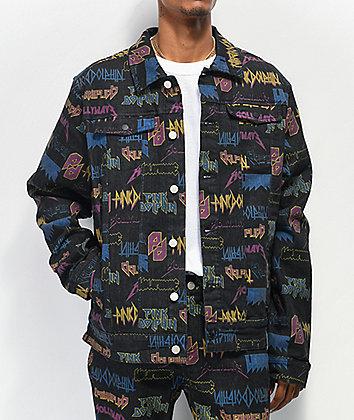 Pink Dolphin Hollywave Allover Print Black Denim Jacket