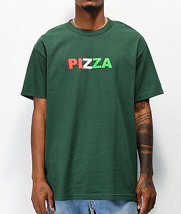 Pizza 3D Logo Green T-Shirt