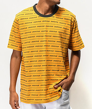 Primitive Boyle Yellow & Black Striped T-Shirt