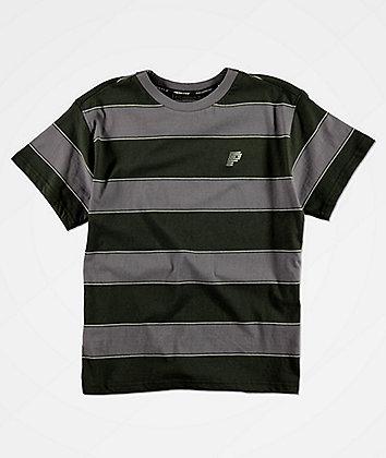 Primitive Boys Hi Eight Black & Grey Stripe Knit T-Shirt