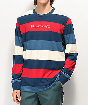 Primitive Porter Blue, Red & White Stripe Long Sleeve T-Shirt