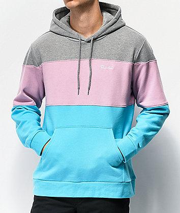 Primitive Primer Grey, Magenta & Turquoise Colorblock Hoodie