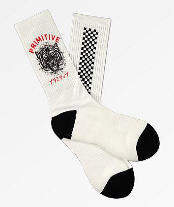 Primitive Tiger White Crew Socks