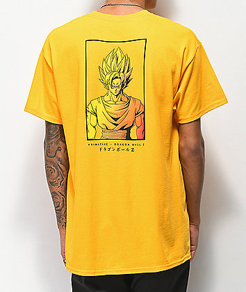 Primitive x Dragon Ball Z Goku Saiyan Style Gold T-Shirt
