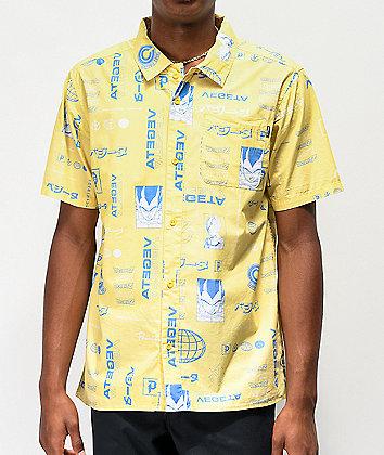 Primitive x Dragon Ball Z Vegeta Yellow Short Sleeve Button Up Shirt