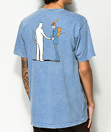 RIPNDIP Burn Blue Mineral Wash T-Shirt
