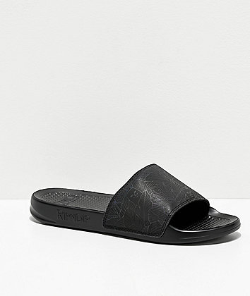 RIPNDIP Nermal Leaf Iridescent Black Slide Sandals