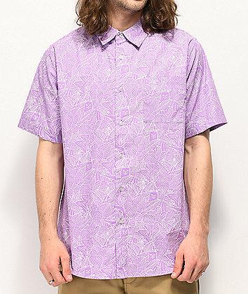 RIPNDIP Nermal Line Camo Purple Short Sleeve Button Up Shirt