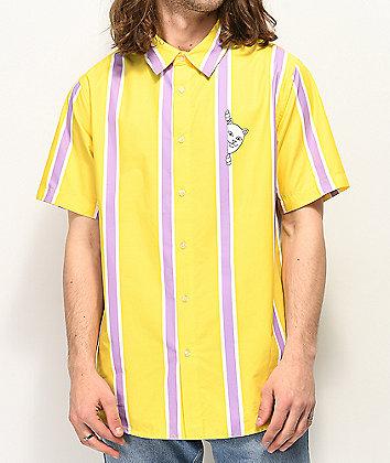 RIPNDIP Peek A Nermal Yellow Short Sleeve Button Up Shirt