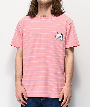 RIPNDIP Peeking Nermal Pink Striped T-Shirt