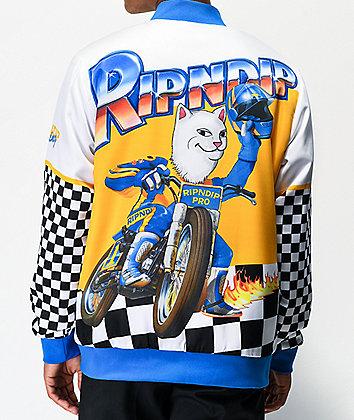RIPNDIP Speed Racing White Varsity Jacket