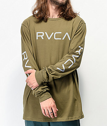 RVCA Big RVCA Army Green Long Sleeve T-Shirt