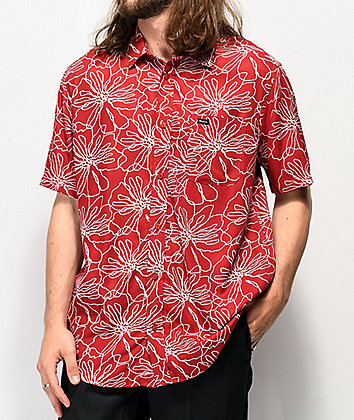 RVCA Blind Floral Red Button Up Shirt