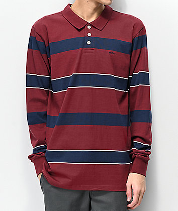 RVCA Darklands Burgundy & Navy Stripe Long Sleeve Polo Shirt