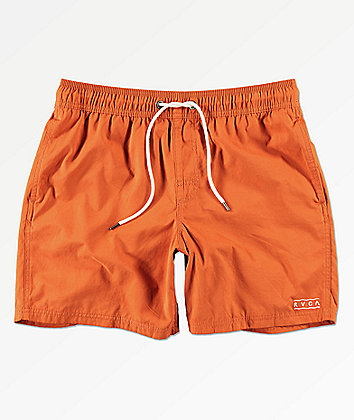 RVCA Gerrard Orange Elastic Waist Board Shorts