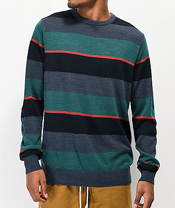 RVCA Kemper Stripe Blue Crew Neck Sweater