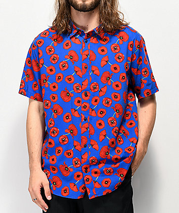 RVCA Peace Poppy Blue Button Up Shirt