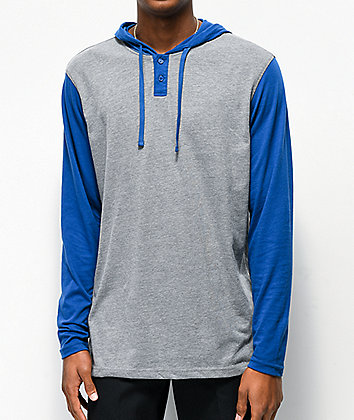 RVCA Pick Up Blue & Grey Hooded Long Sleeve Knit T-Shirt