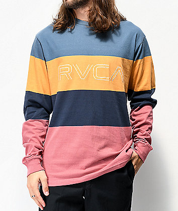 RVCA Shifty Slate, Gold, Navy and Brick Colorblock Long Sleeve T-Shirt