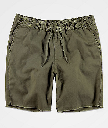 RVCA Weekend Elastic Waist Olive Chino Shorts