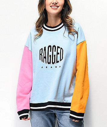 Ragged Jeans Boast Blue, Pink & Orange Crew Neck Sweatshirt