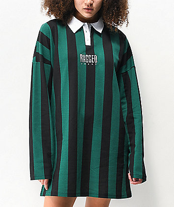 Ragged Jeans Elevator Green & Black Striped Long Sleeve Polo Dress