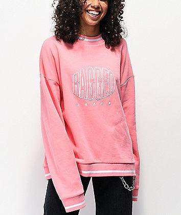 Ragged Jeans Logo Pink Crew Neck Sweatshirt