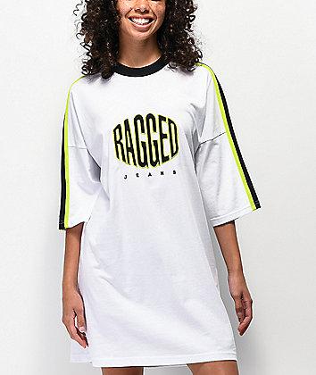 Ragged Jeans Logo White T-Shirt Dress