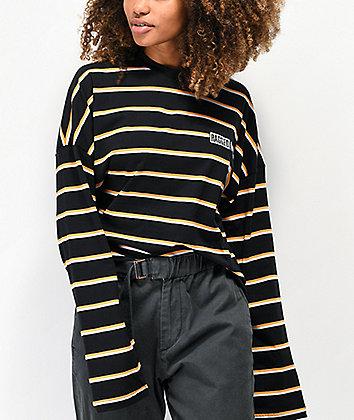 Ragged Jeans Praise Black, Orange & White Stripe Long Sleeve T-Shirt