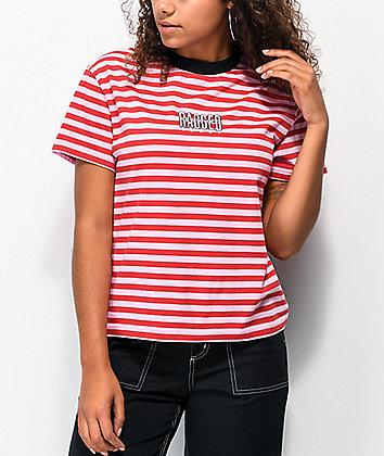 Ragged Jeans Reach Pink Stripe T-Shirt