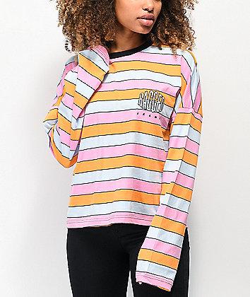 Ragged Jeans Worthy Pink, Blue & Orange Stripe Crop Long Sleeve T-Shirt