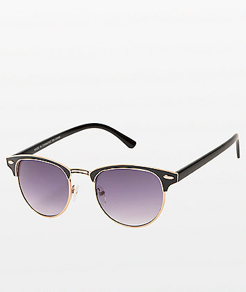 Retro Black & Gold Gradient Sunglasses