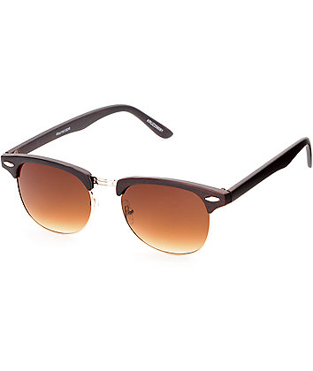 Retro Matte Brown Wood Sunglasses