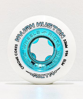 Ricta Nyjah Slim Core 53mm 99a White & Teal Skateboard Wheels