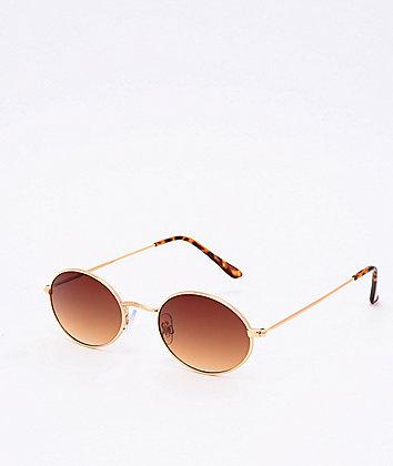 Round Gold & Tortoise Sunglasses