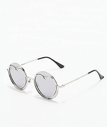 Round Heart Silver Mirror Sunglasses
