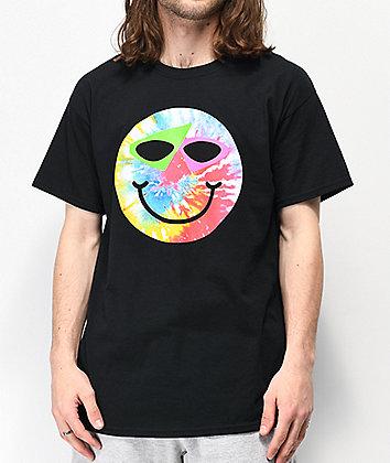 Roy Purdy Happy Face Black & Tie Dye T-Shirt
