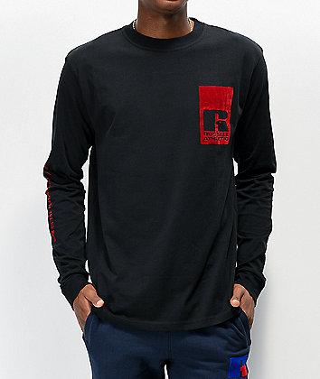 Russell Athletic Leandro Flock Black Long Sleeve T-Shirt