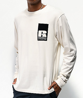 Russell Athletic Leandro Flocked Natural Long Sleeve T-Shirt